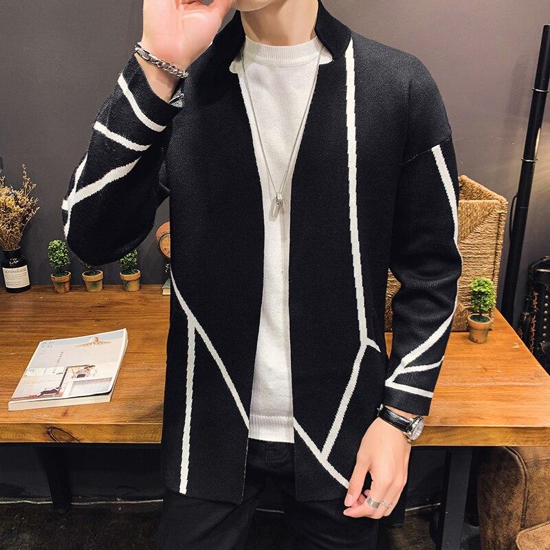 Fashion Line Decoration Male Knitting Man Long Sleeve Sweater Cardigan Male Knitting Garment Loose Coat Noel Kazak Heren Sweater