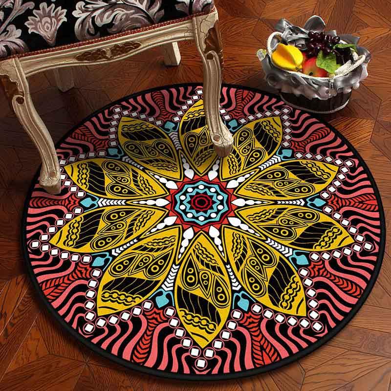 Image 4 - Muslim Area Rugs Round Geometric Carpet Living Room Doormat  Floral Carpets Door Floor Mat for Bedroom Carpet Anti slip RugRug   -