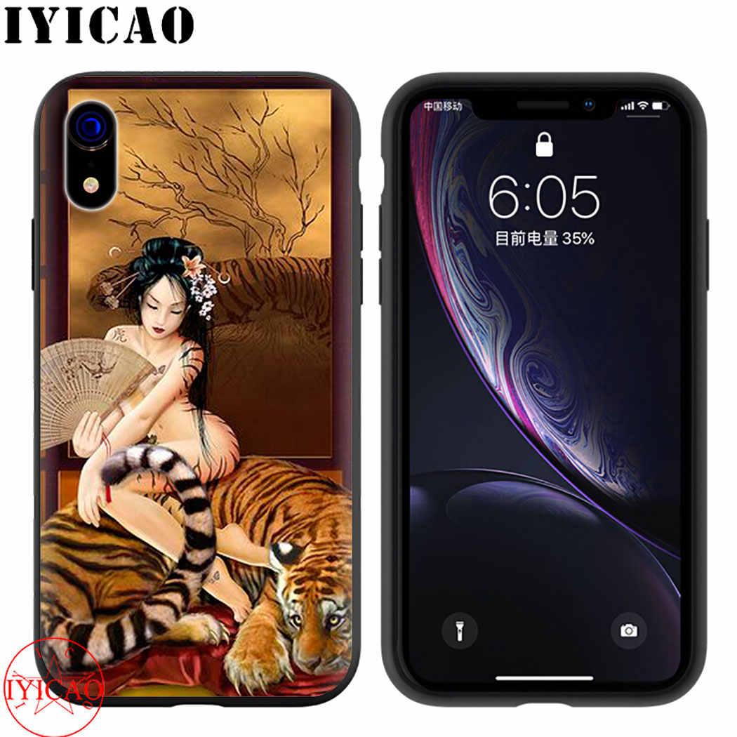 Geisha estetyczny remis miękkie silikonowe etui na telefon dla iPhone 5 6 7 8 11 5S 6s 6splus 7plus 8plus XR XSMax 11 Max 11 Pro okładka
