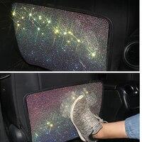 Acessórios do automóvel banco de trás criança kick guard protege cristal assento de carro volta proteção bling strass risco-resistente