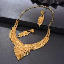 WANDO Dubai Jewelry Set For Women Bride Wedding Gold Color Earring/Necklace/Pendant/Ring//Copper Ethiopian Nigeria Wedding Gifts adixyn ethiopian jewelry set gold color crystal necklace earrings pendant ring bangle eritrea wedding habesha jewelry