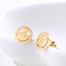 Gold Stud Earrings Small Fashion Jewelry Minimalist Cute Cartoon Round Heart Eyes Smile Stainless Steel Earrings For Girls abstract heart stud earrings stainless steel minimalist hollow heart stud earrings for women girls jewelry accessories gifts