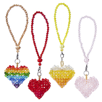 H&D 4 Colors Heart Shape Crystal Suncatcher Car Rear View Mirror Ornament Collectible Wedding Gift For Guests Home Window Decor Wind Chimes & Hanging Decorations     -