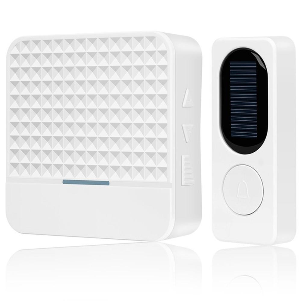 Solar Powered Waterproof Wireless DoorBell EU US UK Plug Smart Door Bell Chime 1 Button 1 Receiver LED Light