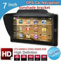 Navegador GPS con parasol para vehículo de coche, dispositivo de 7 pulgadas, TFT, LCD, HD, 800x480, con bluetooth, AVIN DDR3, 256M, 8GB, windows CE 6,0