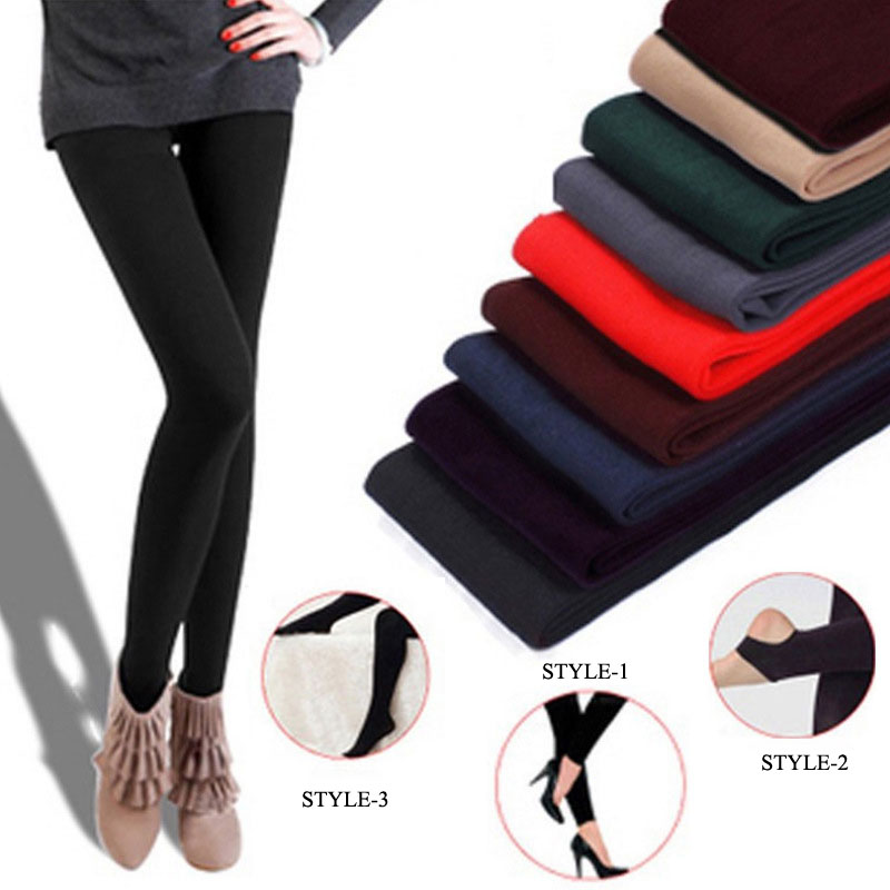 Slim Leggings Fleece-Pants Stretch Velvet Knitted Skinny Thick Winter Casual Women Faux