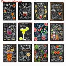Ingredientes de cóctel Vintage francés Martini placas de Metal Shabby Chic Long Island helado té pintura pared carteles decoración del hogar WY50