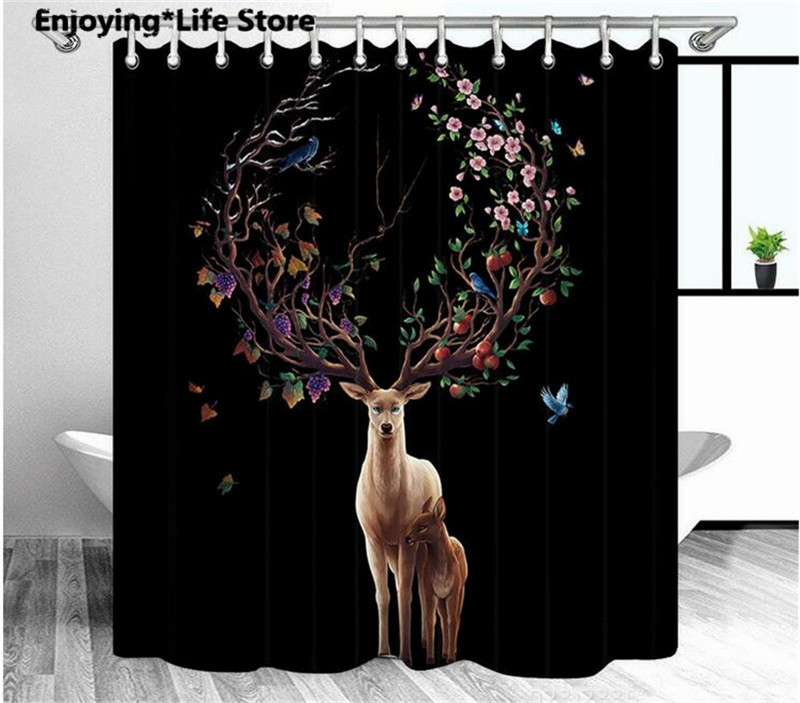 Flower <font><b>Deer</b></font> Shower Curtain Waterproof Fabric Shower Curtain Set <font><b>Bathroom</b></font> Bath <font><b>Mat</b></font> Rugs 72 x 72'' 12 Hooks 24x16' image
