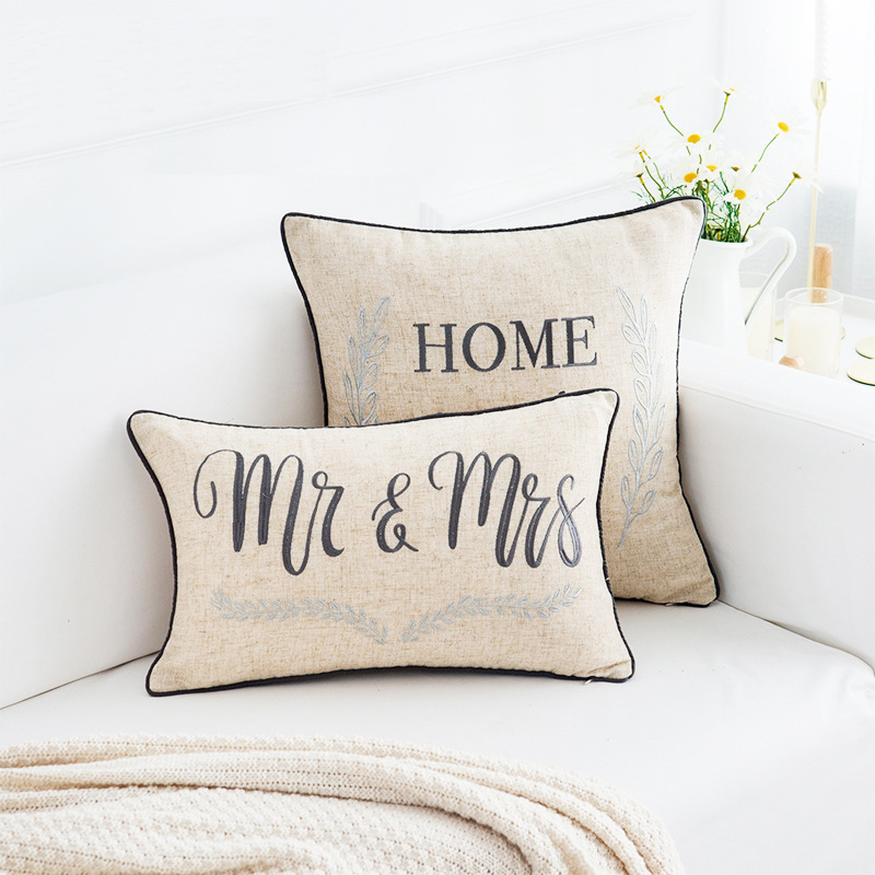 Lover Couple embroidery <font><b>cushion</b></font> <font><b>cover</b></font> Valentine's Day decor pillowcase sofa chair bed car home pillow <font><b>cover</b></font> <font><b>30</b></font>*<font><b>50</b></font> lumbar pillow image