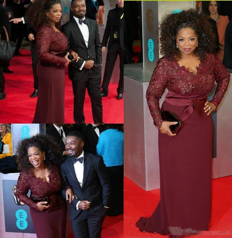 2019 Oprah Winfrey Burgundy Lace Mother Of The Bride Dresses Long Sleeves Deep V Neck Plus Women Formal Special Occasio Dress