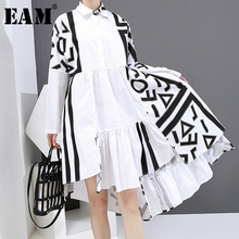 [EAM] Women White Pattern Printed Big Size  Dress New Lapel Long Sleeve Loose Fit Fashion Tide Spring Autumn 2021 1Y926