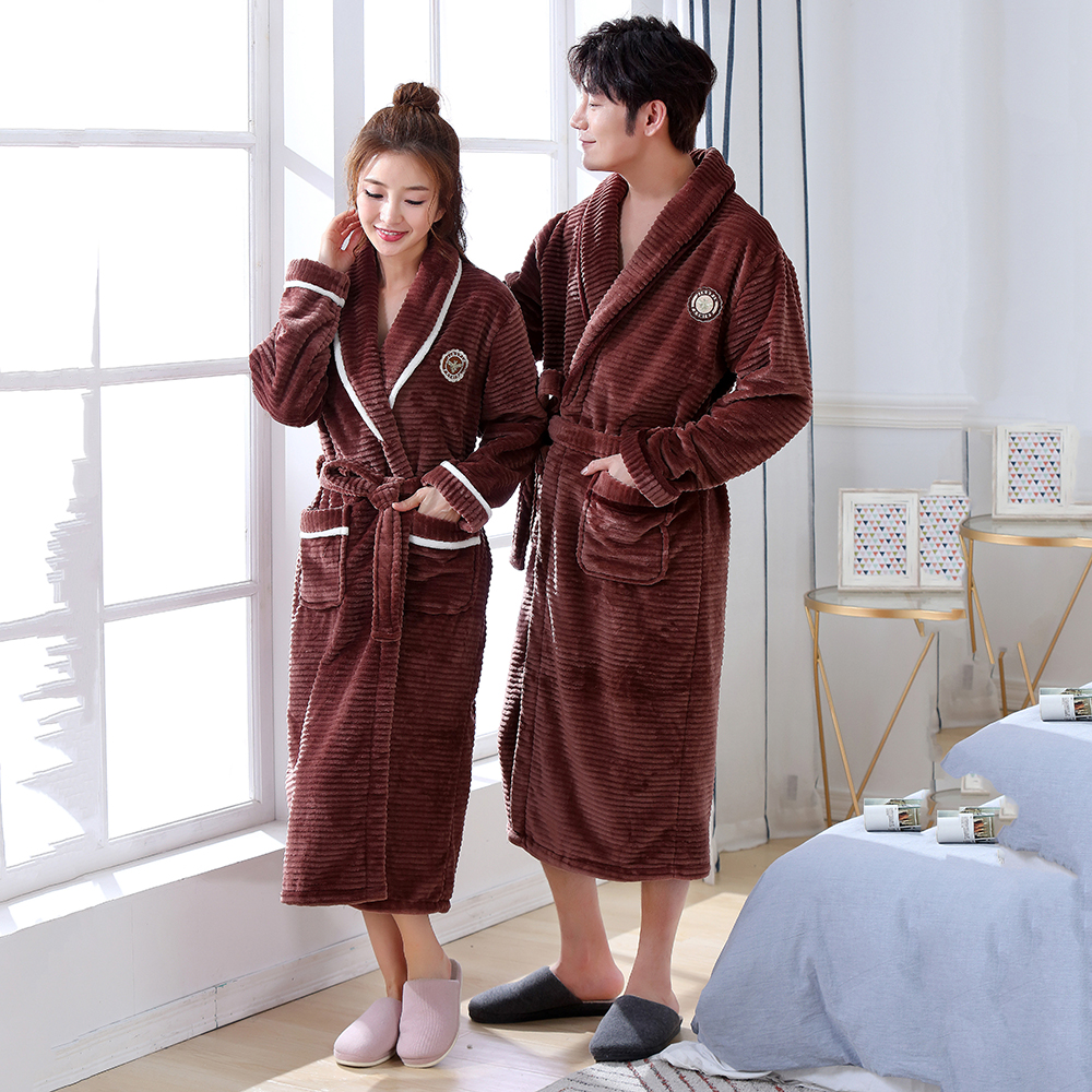 Brown Winter New Lovers Bathrobe Kimono Gown Warm Padded Coral Velvet Robe Novelty Sexy Flannel Nightwear Casual Nightgown