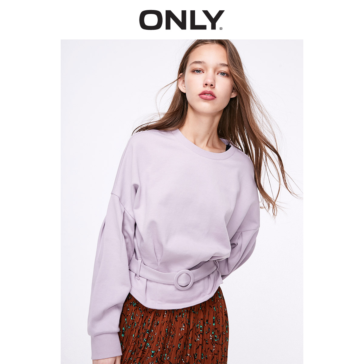 ONLY Winter Women's Short Loose Fit Batwing Sleeves Pullover Sweatshirt | 11919S554