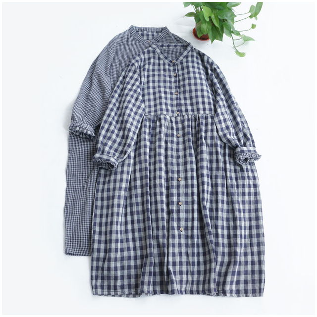 Lamtrip Double-Layer Cotton Yarn A-Line Stand Collar  Loose Forest Long-Sleeved Women's Literary Japanese Quality Dress Pockets 1
