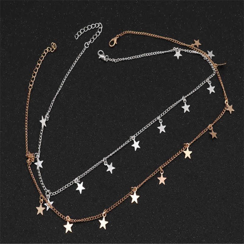 2019 ใหม่ยุโรปแฟชั่น Torques ทอง/เงิน Pentagram Star Chokers สร้อยคอผู้หญิงเครื่องประดับ