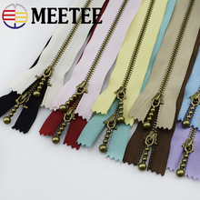 10pc Meetee Metal Zippers 15/20/30/40cm 3# Close-end Zip Bronze for DIY Sewing Bags Jeans Shoes Clothing Tailor Craft Acessories
