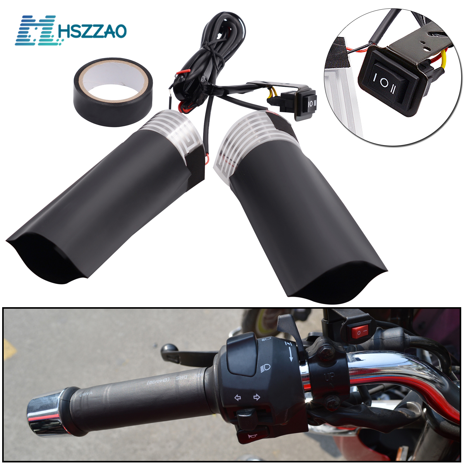 2 Pcs 12V PET Metal Heating Film Heated Grips Inserts Handlebar Hand Warmers For Universal Grip ATV Motorcycle