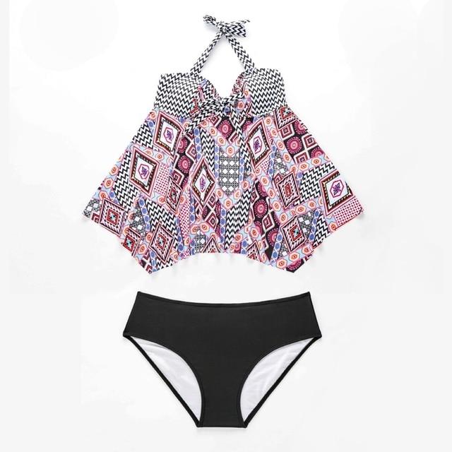 Plus Size Tankini Set Print Two Piece Swimsuit Large Sizes Swimwear Women Vintage Bathng Suit Bowknot Bikinis Swimdress 2020 3
