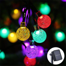 Solar Powered Garland Led Strip Solar String Light Bubble Ball Lamp Water Droplets Outdoor Waterproof LED Light String Strip
