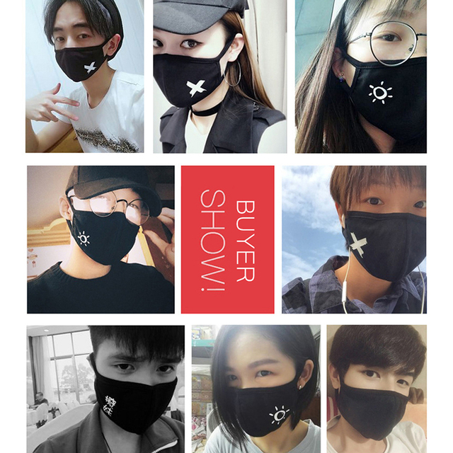 1pc Multi-Style Anime Cartoon Kpop Cotton Mouth Mask Anti dust Mouth-muffle Washable Black Mask On Face For Man Women Respirator 3