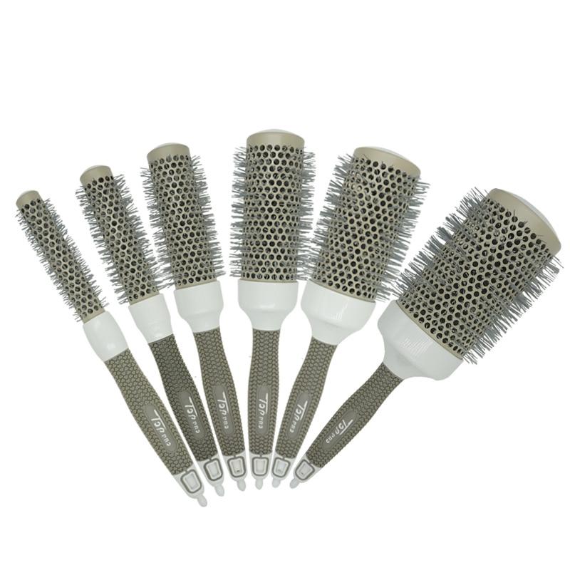 6 Size Hair Brush Hair High Temperature Ceramic Round Comb Hairdressing Salon Nano Brush Hot Ceramic Ion Styling Comb