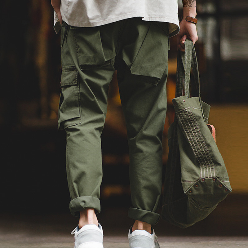 Maden Men's Vintage Military Tactical Pants Casual Army Green Cargo Pants Workwear Pants With Multiple Pockets