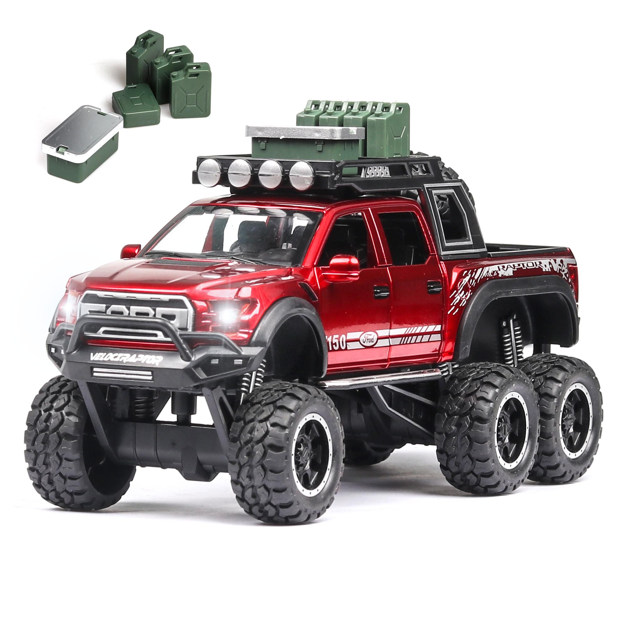 1:28 Diecast FORD RAPTOR F150 SUV Metal Model Car Toy Wheels Alloy Vehicle Sound And Light Pull Back Kid Car Toys For Children
