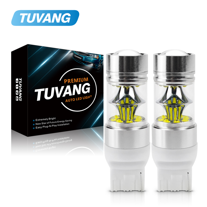 2x 7440 W21/5W <font><b>LED</b></font> <font><b>Bulb</b></font> 100W CREE Chip XBD <font><b>T20</b></font> DRL Reverse Lights Car Daytime Running Driving Lights Brake <font><b>Bulb</b></font> <font><b>Rear</b></font> Tail Light image