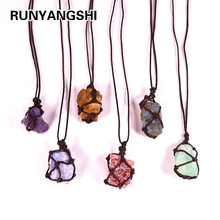 Natural Crystal Quartz Raw Net pocket pendant Crystal Necklace Healing Stone Reiki Hangings Craft With Weave Rope