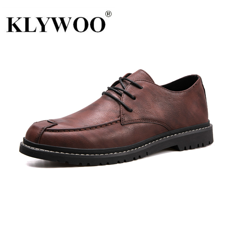 Fashion Men Leather Shoes Hot Sale Younger Sport Casual Dress Shoes Round Toe Comfortable Breathable Hard-wearing Shoes KLYWOO