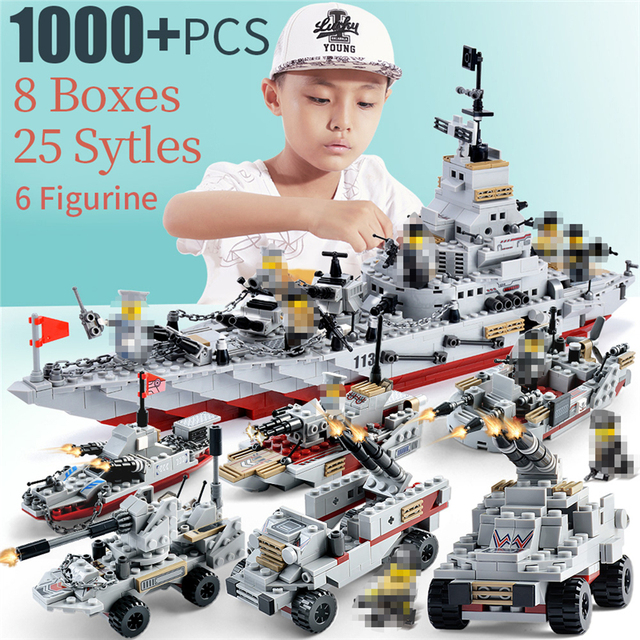 1000+ PCS Military Warship Navy Aircraft Army Figures Building Blocks LegoINGlys Army Warship Construction Bricks Children Toys 1