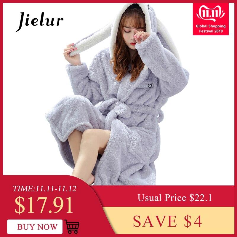Jielur Coral Velvet Bathrobe Women Cartoon Cute Warm Hooded Robe Ladies Casual Rabbit Flannel Kimono Bath Robes Dressing Gowns