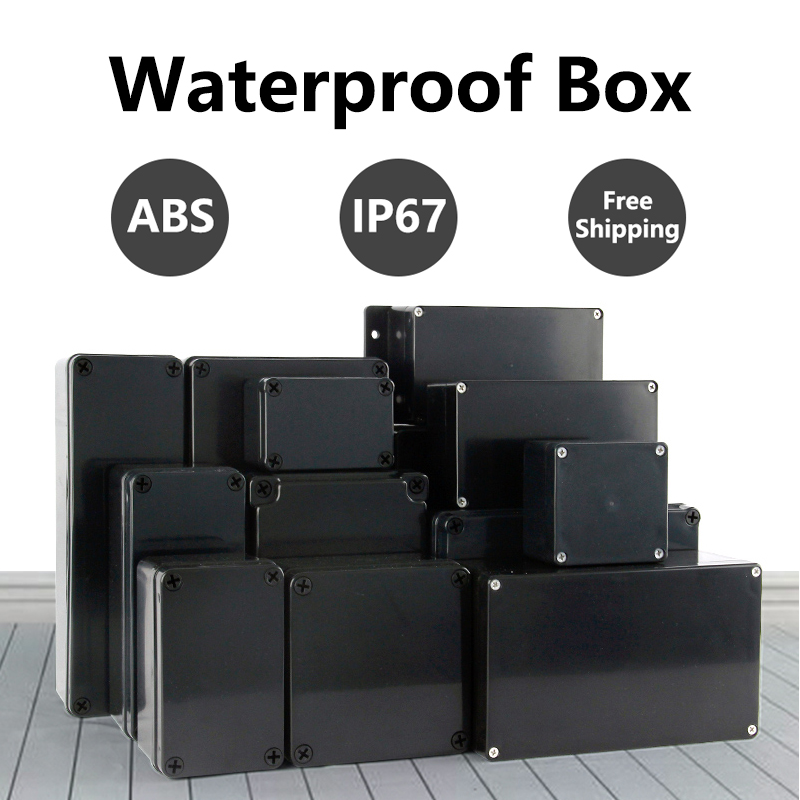 ABS Waterproof Box Electronic Safe Case Plastic Boxes Black Wire Junction Box Plastic Organizer IP67 Waterproof Enclosure