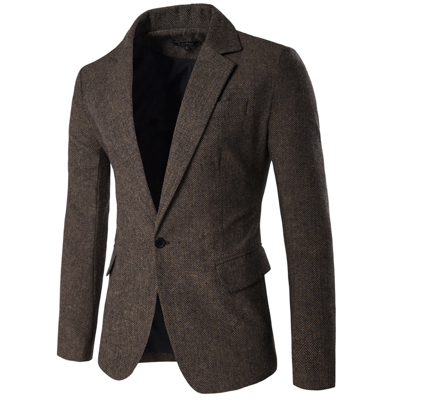 2019 Spring And Autumn MEN'S Coat Ren Zi Ni Fabric Suit Korean-style Fashion Casual Version Of Jane Suit Jacket 9283