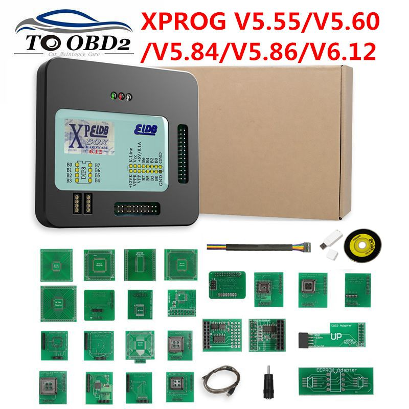 Newest X Prog-M Xprog M V5.55 V5.74 V5.84 V5.86 V6.12 ECU Chip Tunning Programmer X Prog M Box 5.55 XPROG-M Without USB Dongle