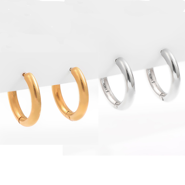 Gold Silver Color Stainless Steel Hoop Earrings for Women Small Simple Round Circle Huggies Ear Rings Steampunk Accessories 6
