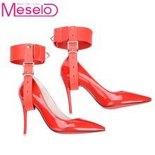 Meselo High Heel Locking Belt Ankle Cuff Restraints Bondage Shoe Fetishism BDSM Sex Toys For Couples NO Include High Heel