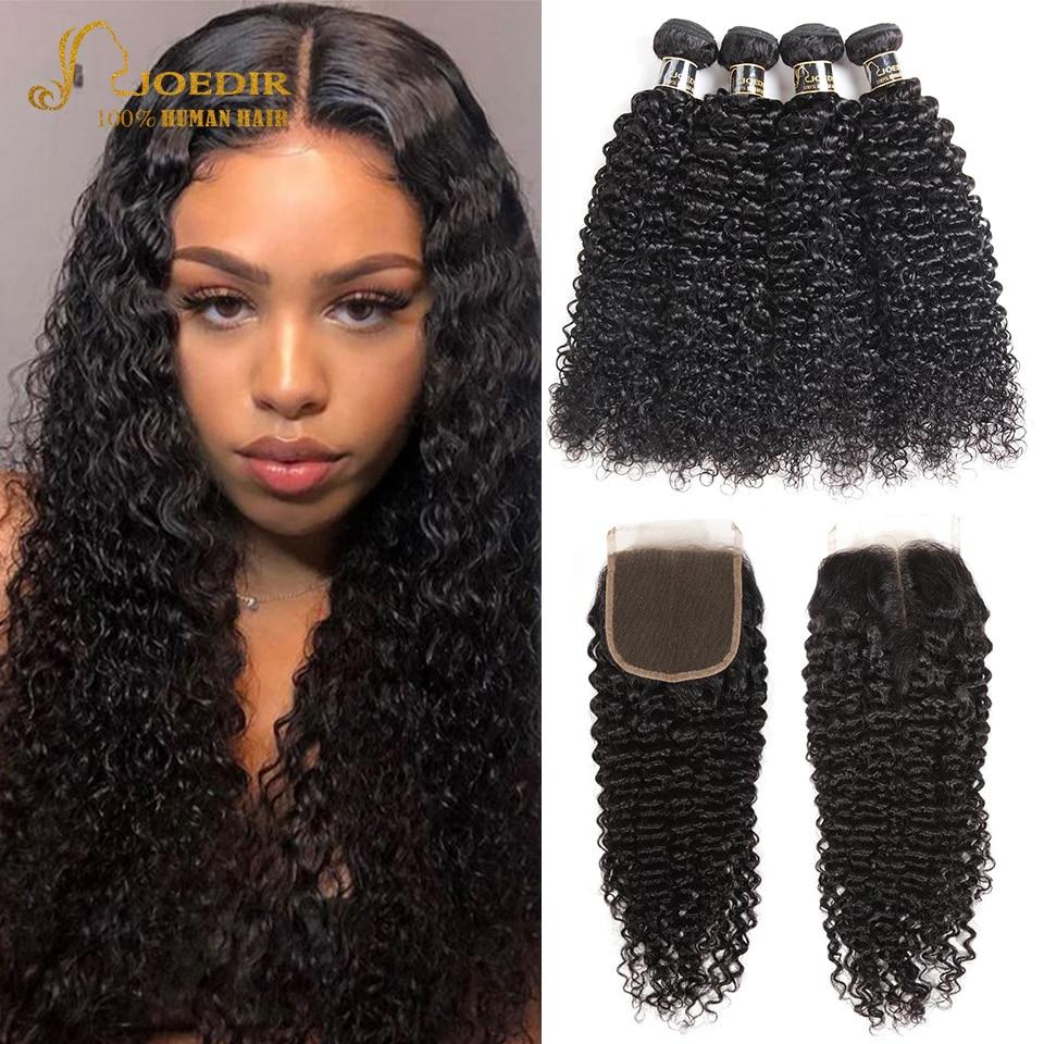 Brezilyalı saç demetleri ile kapatma insan Afro Kinky kıvırcık saç demetleri ile kapatma 10-28 inç uzun saç Joedir olmayan Remy saç