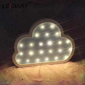 Image 5 - LEDIARY Wooden Night Light Bedside Lamp Moon Star Cloud LED Night Light Ramadan Room Decoration For Babys Childrens Bedroom