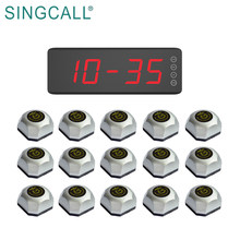 Беспроводная система вызова SINGCALL для ресторанов, отелей, супермаркетов, 1 экран, фиксированный приемник и 15 настольных кнопок