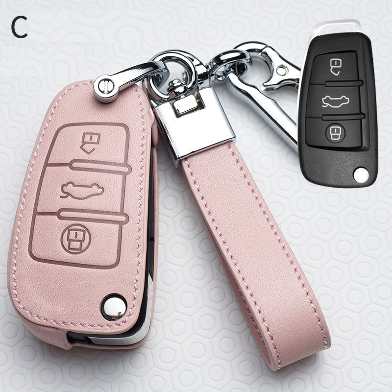 Leather Car Remote Key Case Cover Protective Shell for Audi C6 R8 A1 A3 Q3 A4 A5 Q5 A6 S6 A7 B6 B7 B8 8P 8V 8L TT RS Key Chains