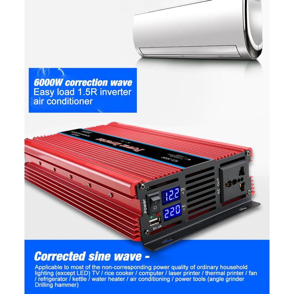 Doppio Display Inverter di Potenza per Auto USB del Convertitore Del Caricatore Adapter Onda Sinusoidale Modificata 3000/4000/5000/6000W - 6
