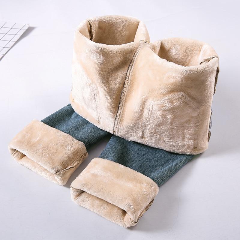 Solid Straight Fleece Jeans Women Winter Thicken Denim Pants Fashion Snow Jeans High Waist OL Trousers Warm Streetpants P9241