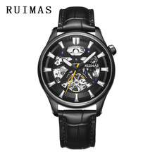 Relogio Masculino Men Skeleton Automatic Watch Genuine Leather Top Brand Luxury Business Mechanical Watches 50m Waterproof Clock недорого