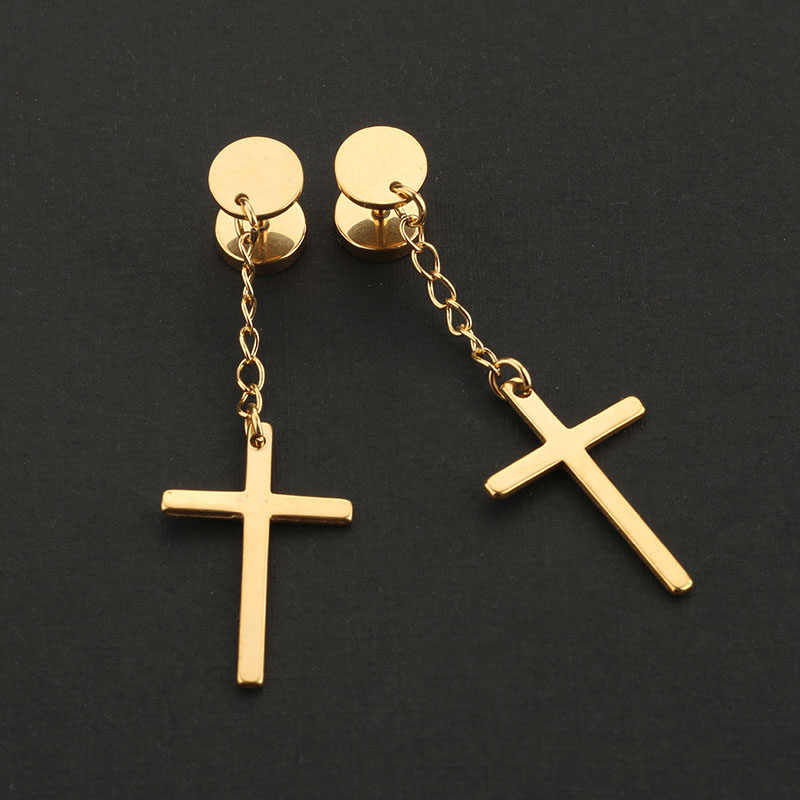 1PC  Fashion Religious Cross Dangle Earrings Ear Plugs Titanium Steel Silver Black Gold Long Earrings Men Women Free Shipping