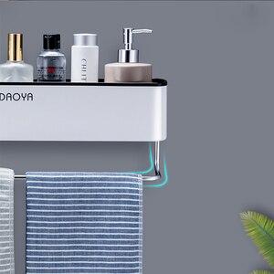 Image 4 - Полка органайзер для ванной и душа, настенная полка для шампуня с держателем для полотенец, без сверления, Кухонное хранилище, аксессуары для ванной комнаты