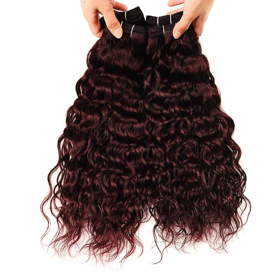 Onda de água brasileira cabelo borgonha 4 pacotes com fecho pinshair pré-colorido escuro vermelho pacotes de cabelo humano com fechamento não remy