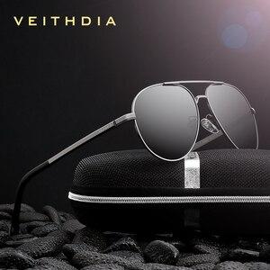 Image 1 - Veithdia óculos de sol masculino polarizado, óculos de sol vintage, polarizado, clássico, direção de lentes para homens e mulheres 2482