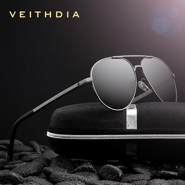 Veithdia óculos de sol masculino polarizado, óculos de sol vintage, polarizado, clássico, direção de lentes para homens e mulheres 2482
