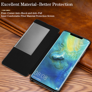 Image 4 - Luxury smart touch flip case for Huawei mate20 p30 p20 mate10 Pro lite view window leather crocodile skin protection Phone cover